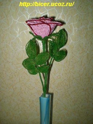 Бисероплетение цветка розы